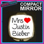 LOVE JUSTIN BIEBER MRS COMPACT LADIES METAL HANDBAG GIFT MIRROR